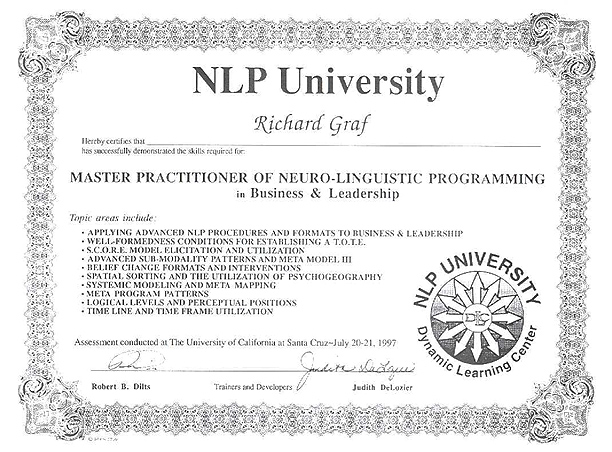 Certified Master Practitioner of NLP 1997